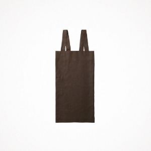 포그리넨워크 linen square cross apron - sepia